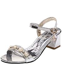 Fuxitoggo Sandalias Plateadas de Verano para Mujeres, Zapatos de Boda con amortiguación de tacón bajo