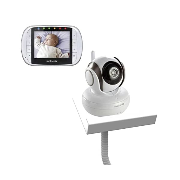 Motorola MBP36S with Baby Camera Holder (White) - The Universal Baby Monitor Shelf Holder Flexi Motorola MBP36S Video Monitor with Baby Camera Holder Can use with all baby cameras on the market. No drilling to walls required. Easy to assemble, by screwing the two parts together. 1