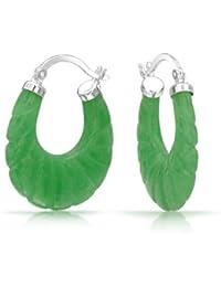 Bling Jewelry Piedra precioa Tallada Arco verde jade pendiente Plata Esterlina Vuelva