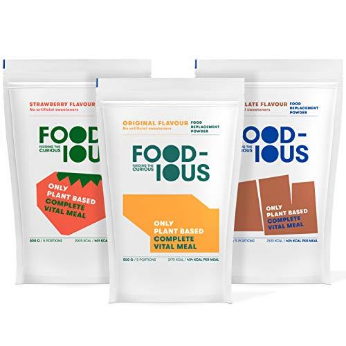 FOODIOUS Mahlzeit Ersatz-Proteinpulver-Testpaket mit Shaker - 100% nahrhaftes veganes Proteinpulver und Bio-Mahlzeiten-Ersatz - Veganes Frühstückspulver 3 Aromen x 500g = 15 Gesamtmahlzeiten -