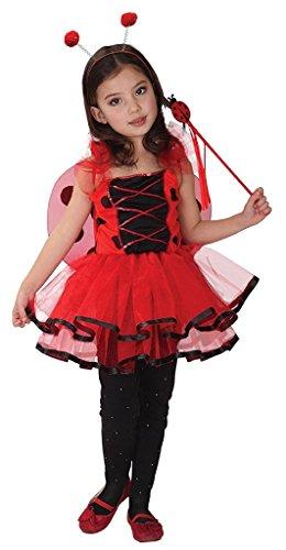 JT-Amigo Kinder Mädchen Marienkäfer Kostüm für Halloween, Fasching, Karneval Gr. 122/128