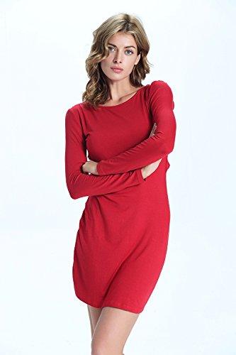 Babyonlinedress Femme Sexy Robe Automne/Soirée Moulante Elastique Courte Dos Nu avec Manches Longues en Coton -Unique Design Rouge