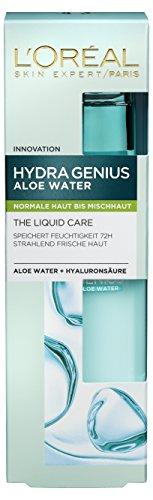 Feuchtigkeitspflege Hydra Genius Aloe Water Gesichtspflege Liquid Care für normale bis Mischhaut, 2er Pack (2 x 70 ml)