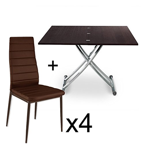 INTENSEDECO Table Basse relevable Bois Wenge et Lot de 4 chaises Marron