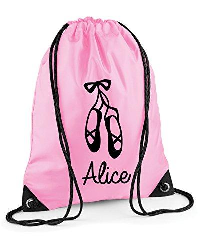 Kinder personalisierbar Ballett Schuhe Pull String Tasche Baby Pink / Black Print