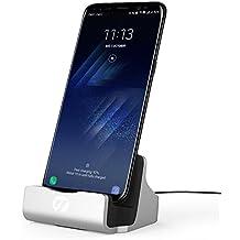 Tipo C Estación de Carga, TUOYA USB C Base Dock de Carga, Cargador y Sincronización Soporte de Carga para Samsung Galaxy Note8 S8+ A5 2017, Nexus 5X 6P, LG G6, Huawei P9 P10 Honor 8, OnePlus 3T Plata
