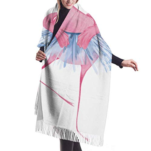 Vikimen Wickelschal Große Schals Fransenschal Womens Winter Scarf Cashmere Feel Funny Flamingos Ballerinas Scarves Stylish Shawl Wraps Soft Warm Blanket Scarves For Women