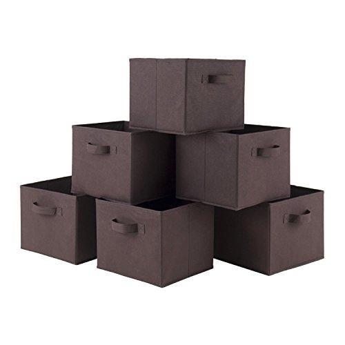 luxehome Home Dekorative faltbar Kaffee Farbe Aufbewahrungsbox Set, Leinwand natur, Set von 6