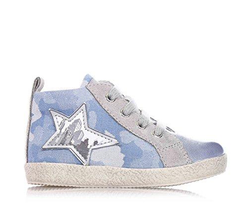 FALCOTTO NATURINO - Chaussure grise et bleu ciel à lacets en cuir et tissu, idéal pour ramper et pour la première étape, bébé (garçon) Bleu
