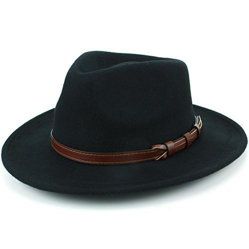 Hawkins Wolle Fedora Hut mit Kunstleder Band - Schwarz, 59cm (Krempe Breite Herren Hut Wolle)