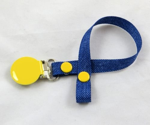 Schnullerband mit Clip, für Mädchen/Jungen-(Denim look-yellow) -