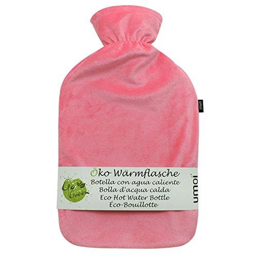 UMOI Öko Wärmflasche 2 Liter mit hochwertigem Supersoft Korean Fleece Bezug BS1970:2012 zertifiziert - Modell 2019 (Pink)