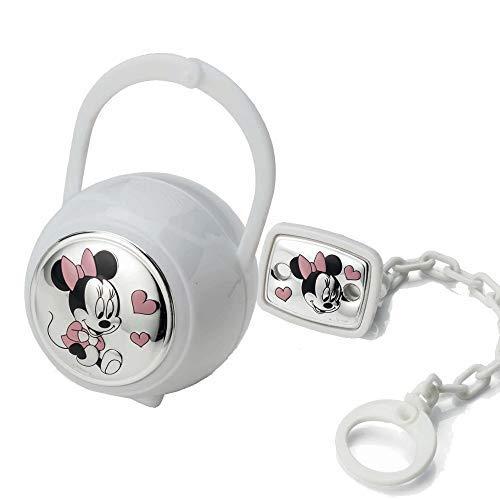 Disney Clip Ciuccio, Catenella Portaciuccio con Box in Argento - ideale come regalo per nascita neonato o battesimo (Bianco)
