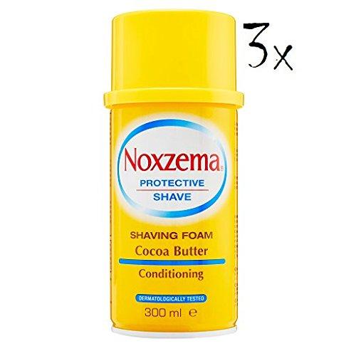3X NOXZEMA Schiuma da Barba da Cream Sapone Schiuma da Barba Cocoa Burro 300ML