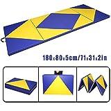CCLIFE 180x80x5cm Blau&Gelb Klappbare Weichbodenmatte Turnmatte Fitnessmatte Gymnastikmatte rutschfeste Sportmatte Spielmatte, Farbe:Blau&Gelb