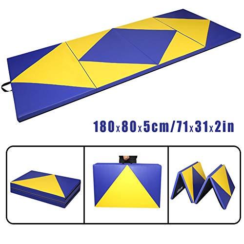 CCLIFE 180x80x5cm Blau&Gelb Klappbare Weichbodenmatte Turnmatte Fitnessmatte Gymnastikmatte rutschfeste Sportmatte Spielmatte