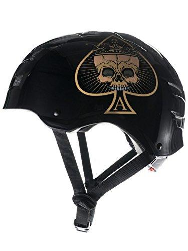 Skullcap BMX Helm  Skaterhelm  Fahrradhelm , Herren   Damen   Jungs & Kinderhelm, schwarz matt & glänzend (Ace of Spades, L (56 - 58 cm))