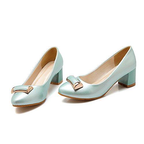 VogueZone009 Femme Couleur Unie Verni à Talon Correct Fermeture D'Orteil Pointu Tire Chaussures Légeres Bleu