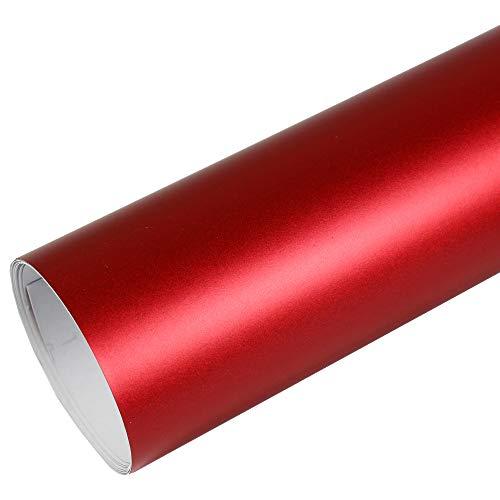 Rapid Teck® PREMIUM - MATT CHROM Rot 50cm x 1,52m Auto Folie Blasenfrei mit Luftkanälen für Auto Folierung und 3D bekleben in Matt Glanz und Carbon