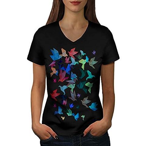 Origami Vogel Kunst Japan Kunst Damen M V-Ausschnitt T-shirt | Wellcoda