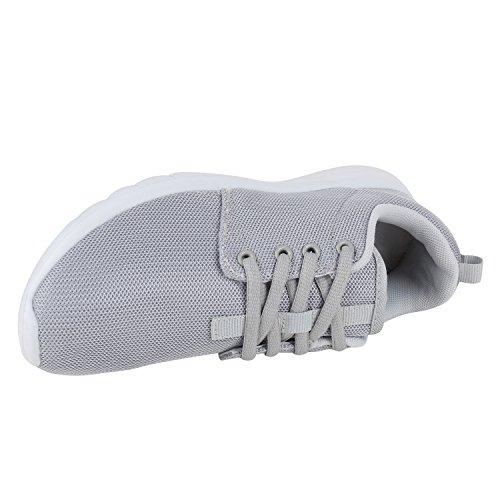 Damen Laufschuhe | Modische Sportchuhe| Sneaker Profilsohle |Glitzer Pailletten Sneakers | Runners Snake Blumen Hellgrau Grau Weiss AxOmKEb