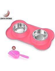 Perros cuencos, Alimentador de tazones dobles de acero inoxidable para mascotas pequeñas con silicona Anti-derrame Bandeja plegable antideslizante de 24 onzas, con una cuchara de comida gratis (Rosa, 12Oz)