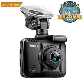 Autokamera Dashcam WIFI GPS 2160P 4K Dashcam nachtsicht gps unterstützt Rückfahrkamerasystem mit Batterie| 170°Weitwinkel||Mikrofon,Lautsprecher und 6 Hauptfunktionen AZDOME App Kontrolle iOS Android