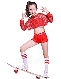 5pcs Girls Modern Jazz Hip Hop Dance Costume Stage Performance Outfit