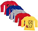 IndiWeaves Girls Cotton Full Sleeve Printed T-Shirt (Pack of 5)_Red::Yellow::Red::Blue::Grey_Size-8-9 Years