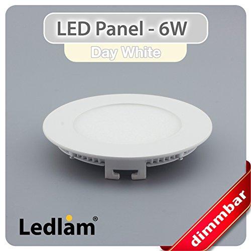 Lot de 10Panneau LED rond blanc Ø 12cm blanc neutre 6W Intensité variable avec variateur LED Ledlam