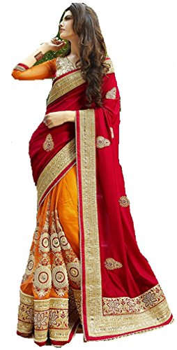 I-Brand Women's Georgette Saree (Isunsa1979-Ib_Red)