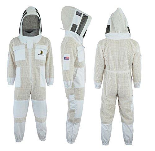 Professioneller Imkeranzug, 3-lagig, ultra belüftet, Sicherheitsschutz, Unisex, weißes Gewebe, Bienenenzucht-Anzug mit Gesichtsnetz, Größe XL