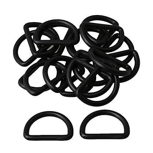 2,5 cm Innendurchmesser Schwarzer Kunststoff D Ring Schleife Ring für Tasche Gürtelschnallen Gurtband D-Ring Gürtelschnallen Packung von 20 Stück