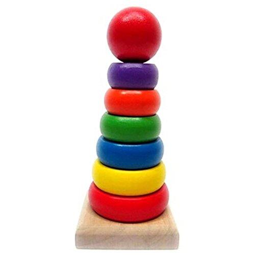 Highdas del bebé juguetes de apilamiento de madera, en forma de anillo del arco iris temprano geométrico educativo de los bloques huecos Stacker juguetes de madera para niños de los niños