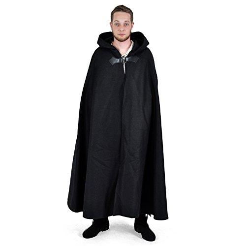 Mittelalter Umhang Damen mit Drachen Metallspange warm leicht wasserabweisend schwarz