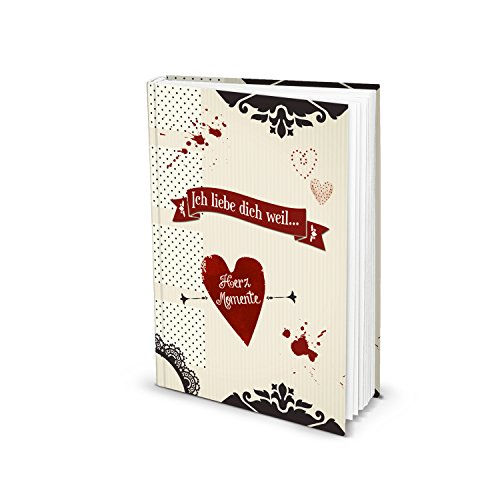 Tagebuch Notizbuch Blanko-Buch ICH LIEBE DICH WEIL HERZ-MOMENTE rot schwarz DIN A5 Liebesbuch selber Schreiben Verschenken eigene Liebesgeschichte vintage Geschenk-Buch Liebe