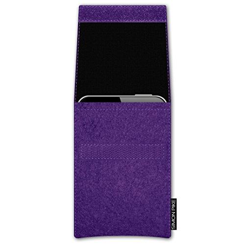 SIMON PIKE Apple iPhone SE/5S/5C/5 Filztasche Case Hülle 'Sidney' in rot 10, passgenau maßgefertigte Filz Schutzhülle aus echtem 100% Natur Wollfilz, dünne Tasche im schlanken Slim Fit Design für das  lila Filz (Muster 1)