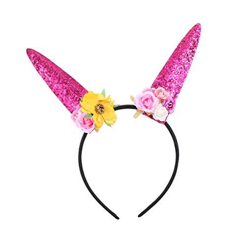 Bunny Pailletten Rosa Kostüm - Lurrose Bunny Ears Stirnband süße Pailletten Kaninchen Ohren Haarreif für Halloween Party Cosplay Kostüm Zubehör (Rosa)