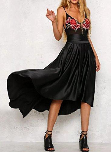 Futurino Femme Bowknot de Couleur Unie Haute Basse Plissée Jupe de Partie de Bal Black