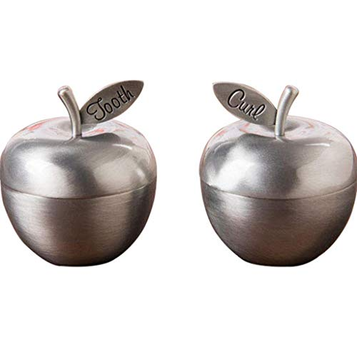2 Stück Einfachen Stil Baby Zähne Speichern Box Organizer, Metall Erste Zähne Lanugo Haar Souvenir Container Große Baby-Dusche-Geschenk, 3,9 * 2,2 * 4 cm, Antike Zinn