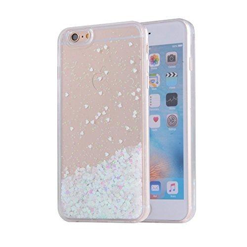 iPhone 6S Schutzhülle, Saus iPhone 6Fall, Funny Liquid mit Floating Bling Glitzer Sparkle dynamisch Fließende Hybrid Bumper Schutzhülle für iPhone 6/6S, Weiß Hybrid Fusion Protector