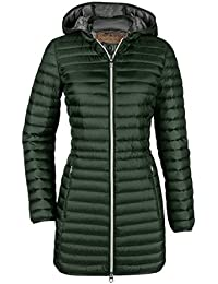 4a8b6b936df2 MILESTONE Softdaunen Jacke Damen Daunen Mantel mit Kapuze CAPPUCCINO in  Dunkel Grün Gr  36-