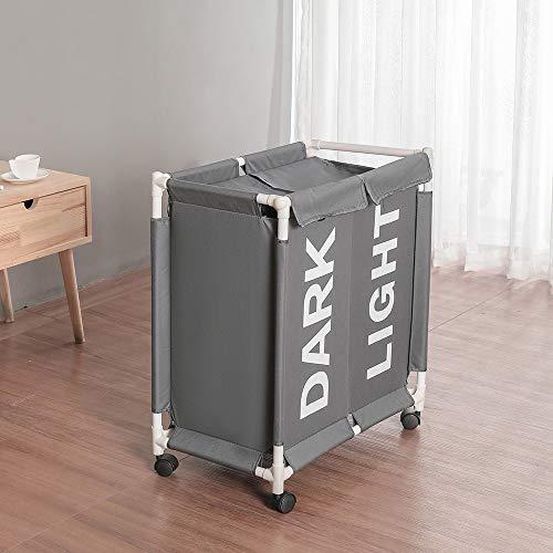 Rolling Wäscherei (GRASSAIR Double Bag Section Rolling Wäscherei Hamper Lid Rätable Wheels Wäschekorb 58 * 35 * 68cm Leichte Transport-Wäschekleidung Organizer Sorter Bin,Gray)