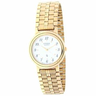 Reloj de señora/cadete CITIZEN – Chapado en oro – Esfera blanca con números Mod.032-52A