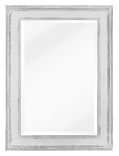 Espejo Rectangular de Pared Estilo Shabby Chic - Madera Genuina - Grande 90x60cm - Estilo campestre...