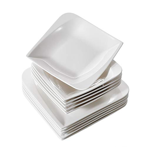 Vancasso, série Cloris, 12 pièces Blanc ivoire Porcelaine plaques de déjeuner en céramique en combinaison avec ensemble de 26,7 cm Assiettes à dîner/servir platines et 20,3 cm Assiettes à Soupe/pâtes bols, Service pour 6 personnes