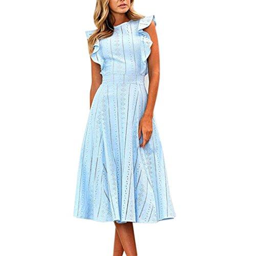 ESAILQ Damen Abendkleider Ärmellos Schulterfrei Cocktailkleid Abschluss Bandage Rücken Kreuz Brautjunfer Langes Sommer Party Kleid(S,Blau)