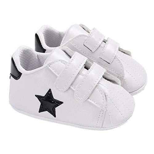 Chennie Neugeborene Baby Jungen Premium Star Soft Sohle Baby Prewalker Kleinkind Sneaker Krippe Schuhe, Schwarz - Schwarz - Größe: 0-3 Monate
