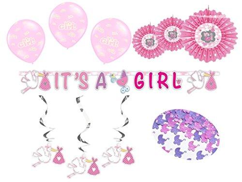 Party Deko Set Babyparty Baby Shower Mädchen rosa 14 teilig Pullerparty Baby Geburt Storch Babyparty Komplettset Girlande Rosetten Wirbel hängende Deko Luftballon Streu Deko