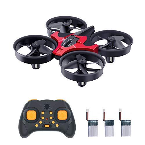Bella Mini Drohne, Drohne Kinder RC Drone Quadrocopter mit Höhe-halten/360 Grad Drehung/ Kopflos-Modus/ EIN-Tasten-Rückkehr, Flugzeug Geschenke Ideal, Best Spielzeug Drone für Kinder (3 Batterie/Rot)